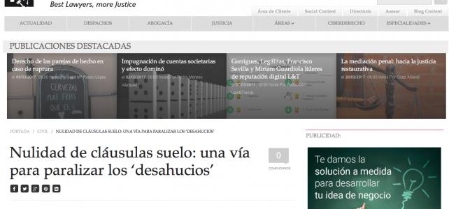 Ilisástigui habla con 'Law&Trends' sobre nulidad de cláusulas suelo y paralización de desahucios